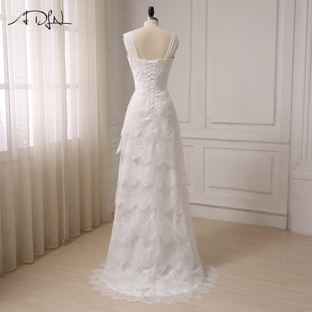 A-line Chiffon Lace Sweetheart Pleats Beach Wedding Dress