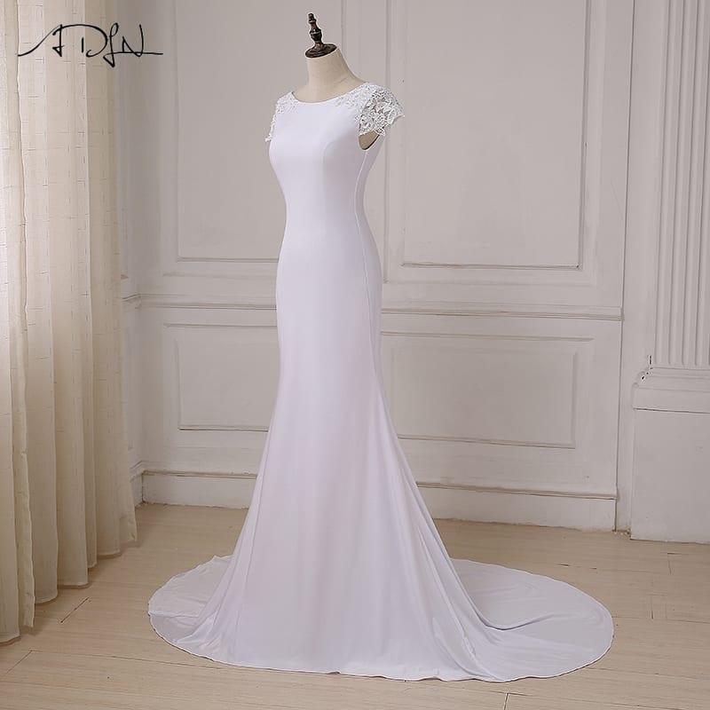 Scoop Neck Open Back Court Train Long White Mermaid Beach Boho Wedding Dress