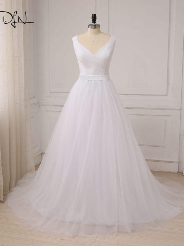 V-neck Sleeveless Pleats Tulle A-line Wedding Dress