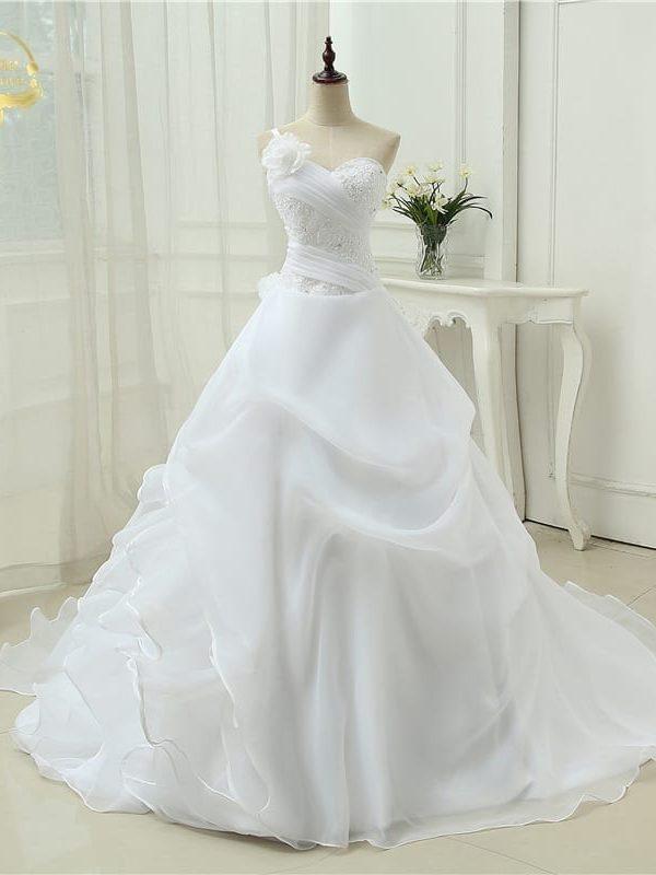 One Shoulder Applique Lace Organza A Line Vintage Wedding Dress