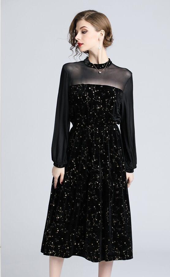 Elastic Waist Mesh Patchwork Velvet Midi Dress