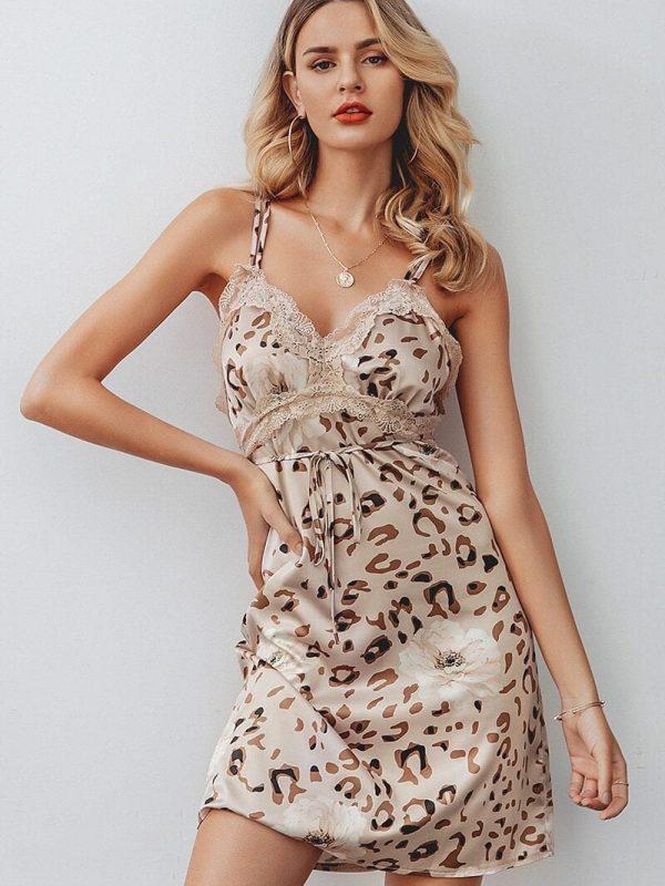 Elegant V-neck Leopard Sleeveless Backless Mini Dress