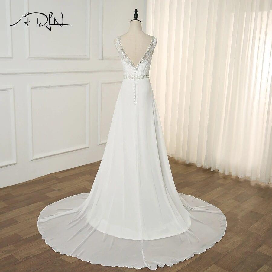 V-neck Sleeveless Beading Applique Chiffon A-line Beach Wedding Dress
