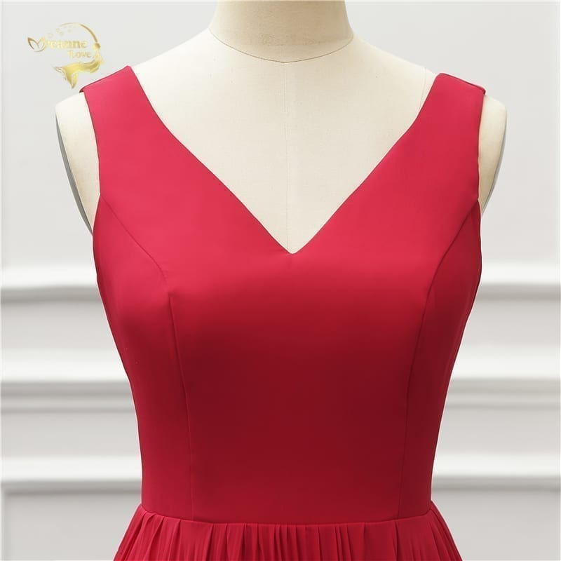 Elegant V Neck Open Leg Evening Dress