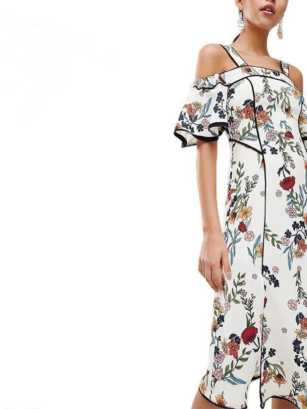 Bohemian Floral Print Cold Shoulder Midi Strap Slash Neck Ruffle Short Sleeve Side Split Wrap Dress