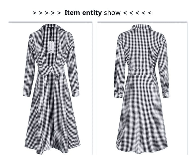 Turn-down Collar Lace-up Sashes Full Sleeve Button Plaid Midi Dress