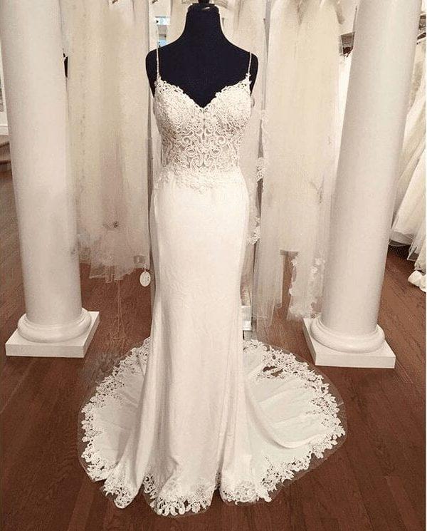 V Neck Lace Appliques Boho Backless Mermaid Wedding Dress