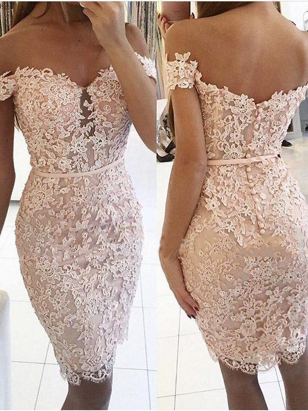 Champagne Sheath Off The Shoulder Short Mini Lace Beaded Elegant Cocktail Dress