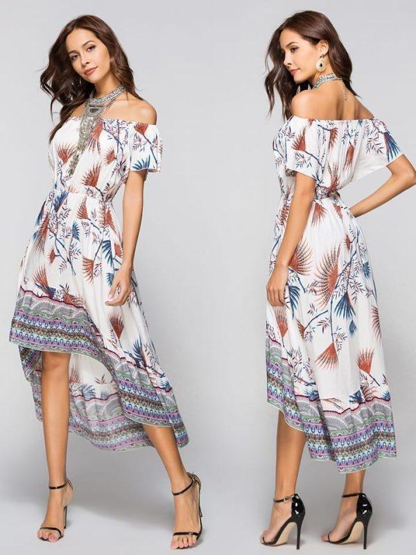Off Shoulder Boho Mid-calf Loose Beach Floral Print Wrap Dress