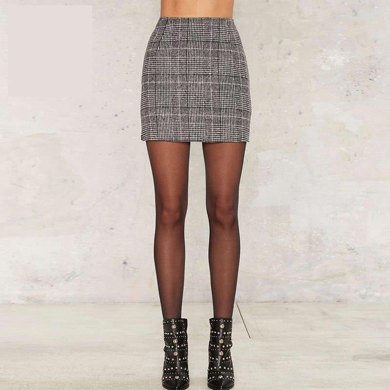 Pencil High Waist Plaid Buttoms Zipper Back Office Mini Skirt