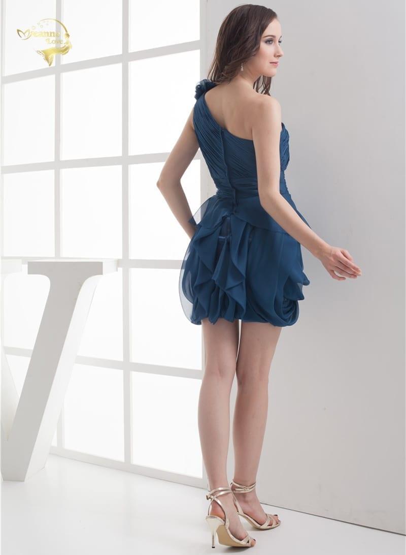 Fold One Shoulder Flower Short Chiffon Cocktail Dress