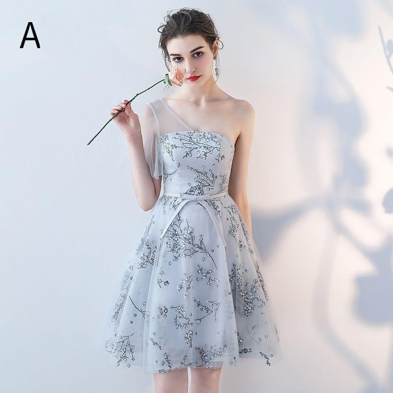 Elegant Printing Sleeveless Short Bridesmaid Dress