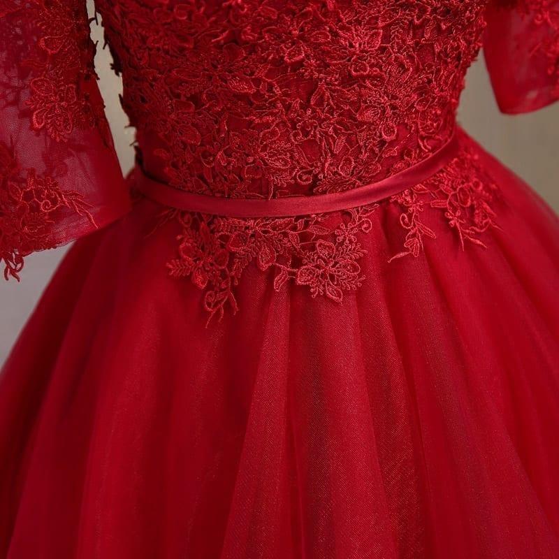 A Line Boat Neck Short Half Lace Sleeve Bridesmaid Dress