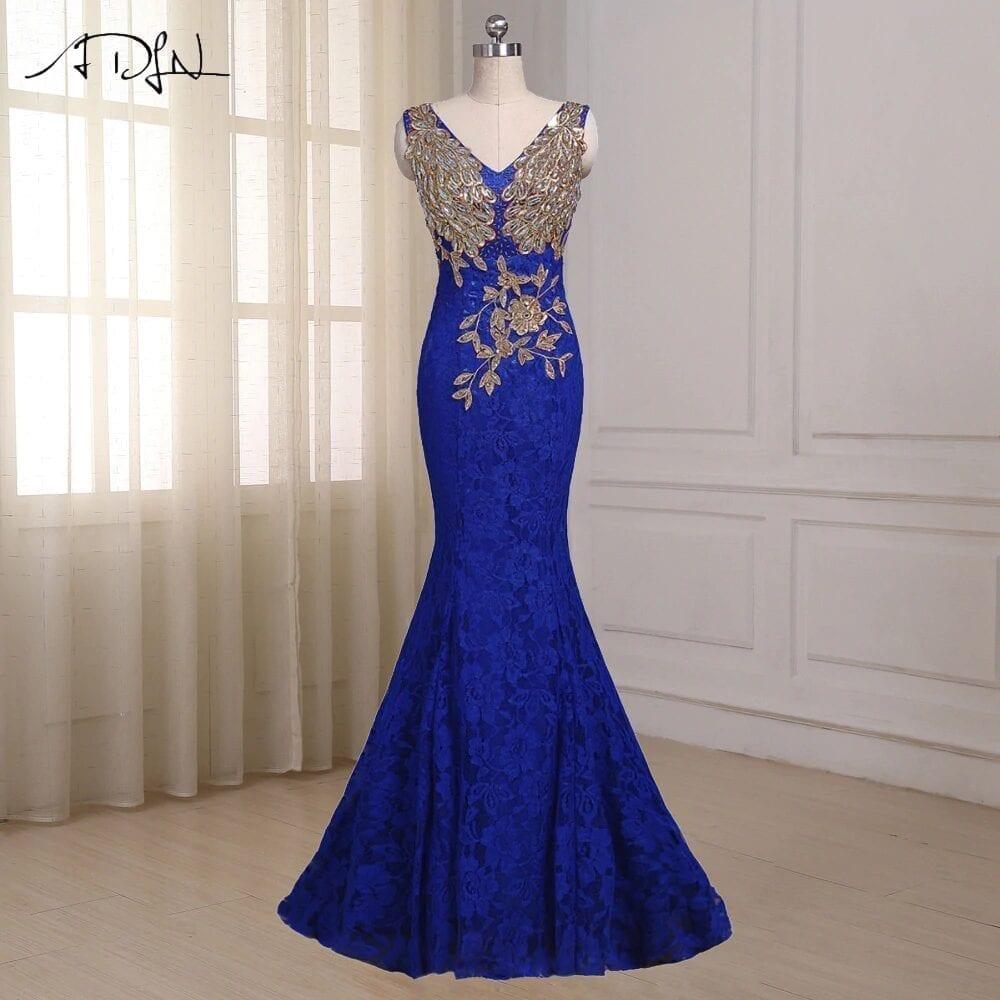 Blue V Neck Appliques Sequin Lace Bridesmaid Dress