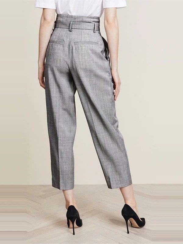 Gray High Waist Metal Ring Bandage Pants