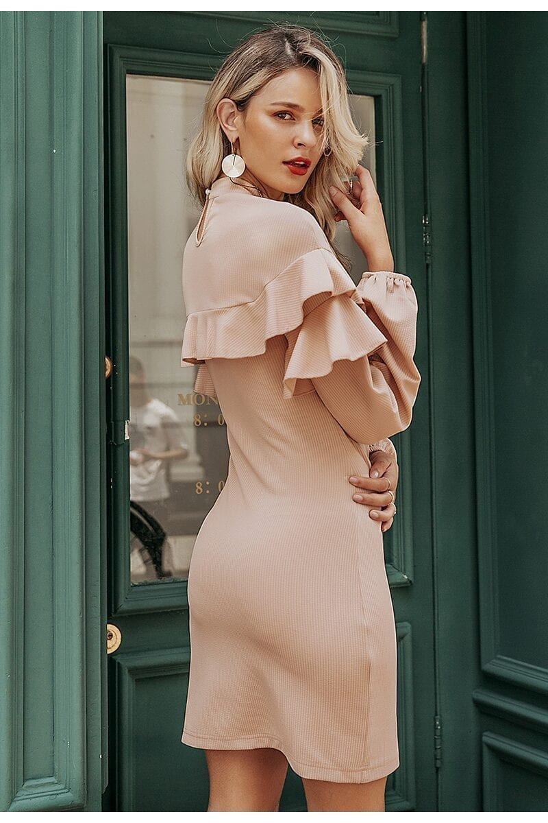 Elegant Turtleneck Lantern Sleeve Ruffle Dress