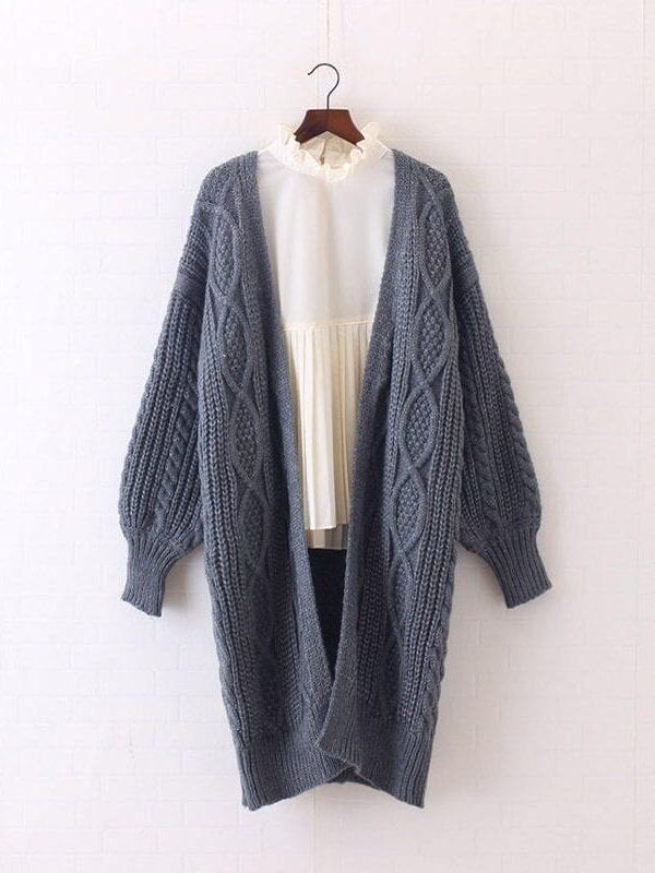 Open Stitch Lantern Sleeve Knitted Long Sweater Cardigan