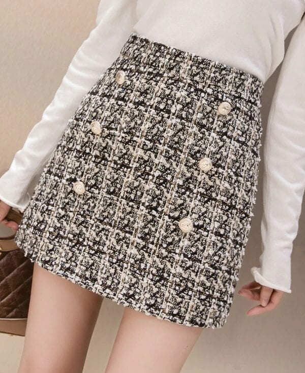 High Waist Khaki Button A-line Mini Skirt