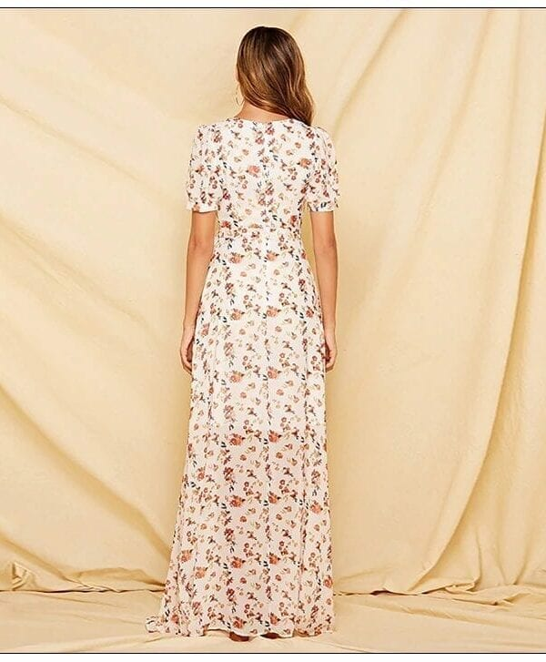V-neck Short Sleeve Chiffon Floral Boho Dress