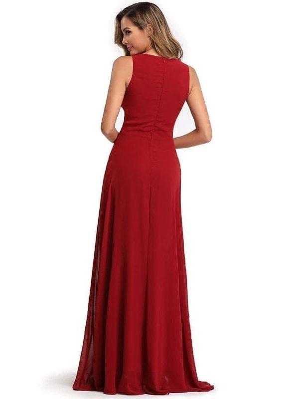 Elegant See-through Appliques Chiffon Long Evening Dress