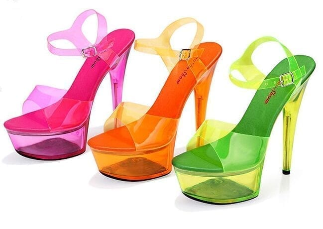 Neon Platform High Heels Open Toe Sandals Pumps
