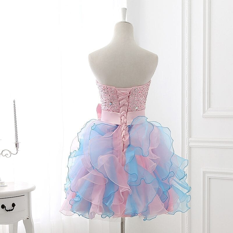 Colorful Sequin Organza Short Prom Dress