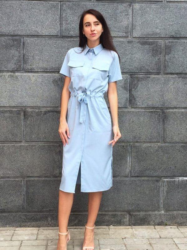 Turn-down Collar Short Sleeve Side Slit Pockets Elastic Waisted Bandage Dress