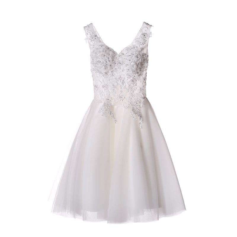 White/ivory Lace A-line Short Wedding Dress