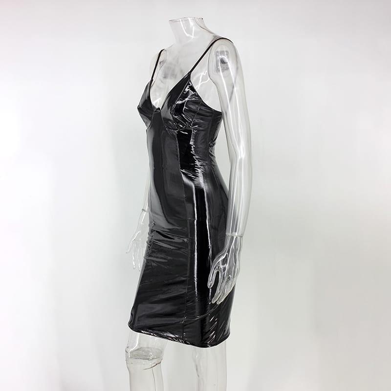 Black Pink Bodycon Zipper Latex Club Wear Mini Dress