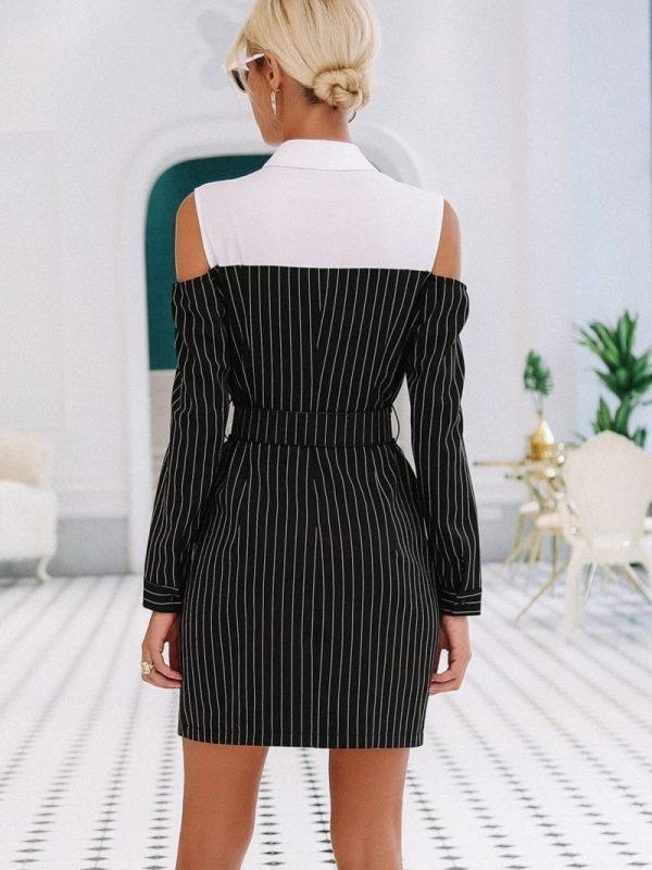 Elegant Stripe Sash Long Sleeve Office Mini Dress
