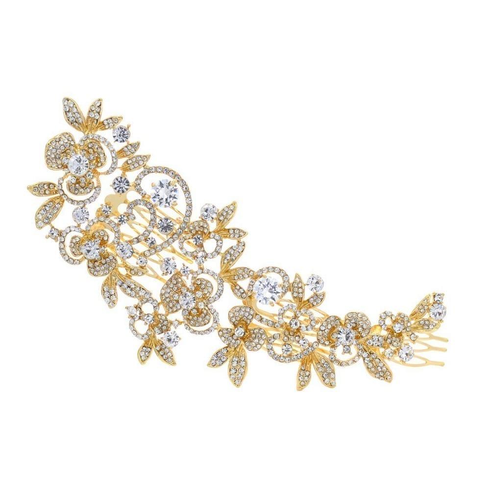 Flower Gold Silver Clear Rhinestone Crystal Wedding Hair Comb Jewelry