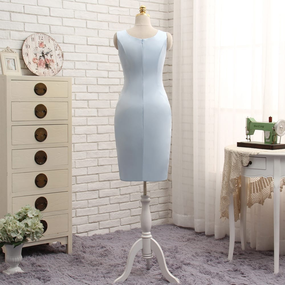 Blue Sheath With Jacket Appliques Lace Mother Of The Bride Dress