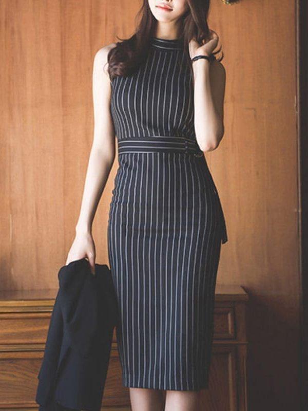 Elegant Striped Sleeveless Office Lady Work Dress
