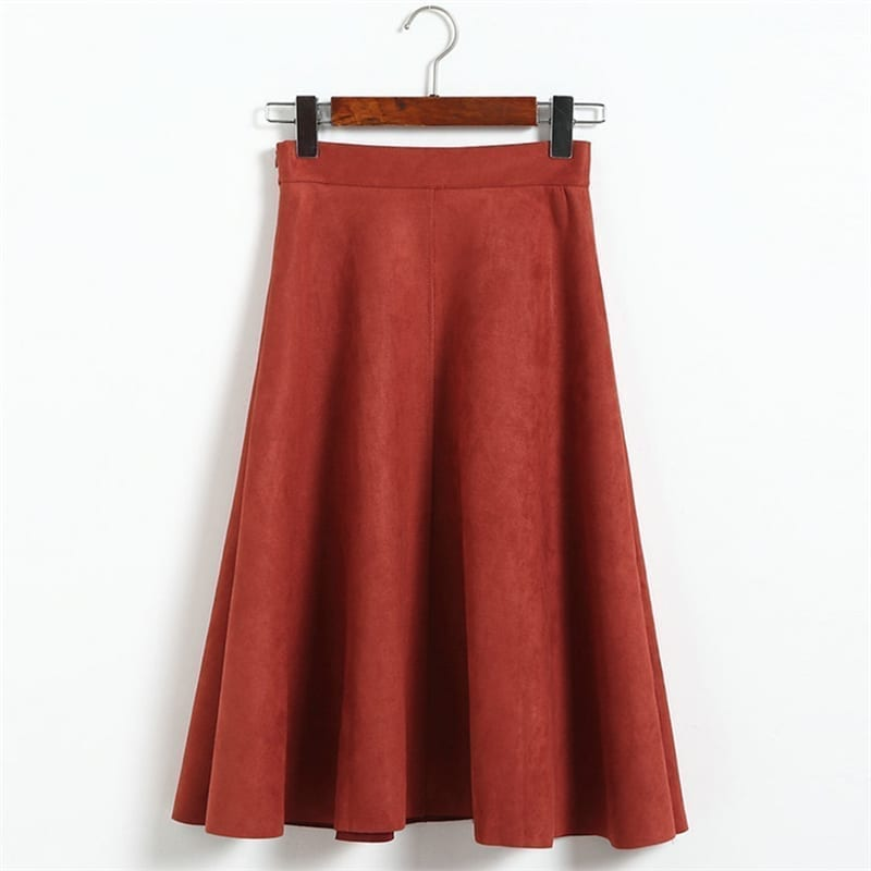 Vintage Pleated Suede High Waist Midi A Line Flare Skirt