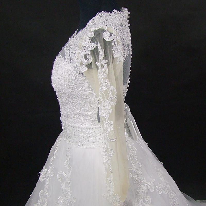 Beading Appliques Lace Pearls Amazing Back Train Wedding Dress
