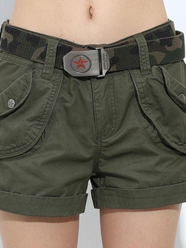 Loose Pockets Zipper Military Army Green Shorts