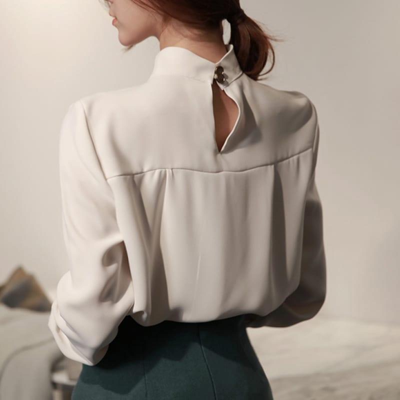 Round Neck Long Sleeve Office Blouse Shirt