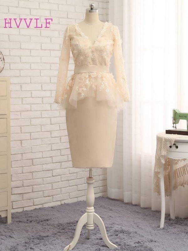 Sheath V-neck Long Sleeves Lace Flowers Short Front Long Back Evening Dress