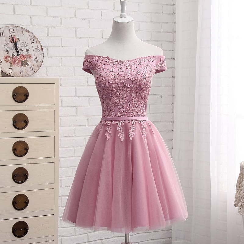 Boat Neck Lace Short Chiffion A Line Prom Dress
