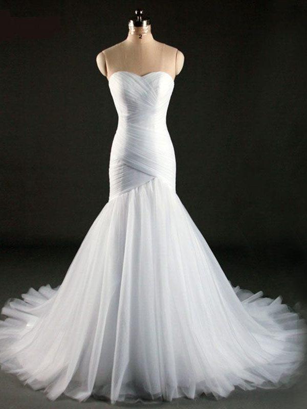 Elegant White Ivory Mermaid Wedding Dress