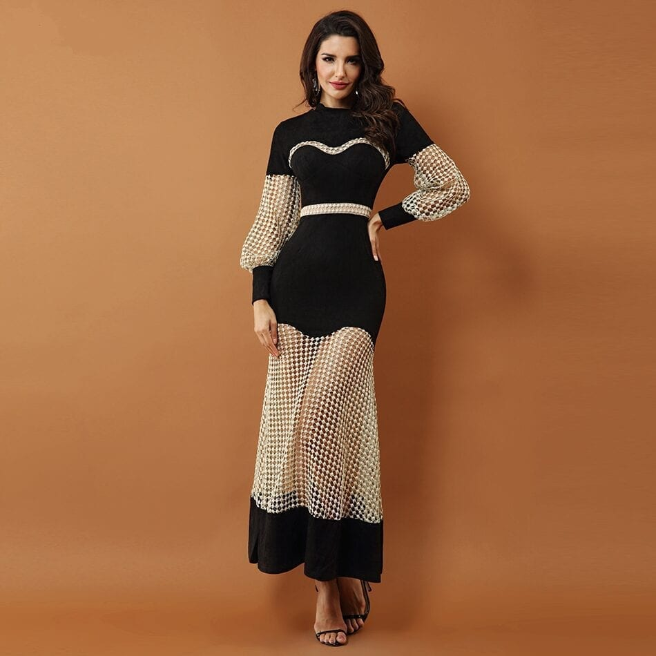 Luxury Black Lace Hollow Out Mesh Dress