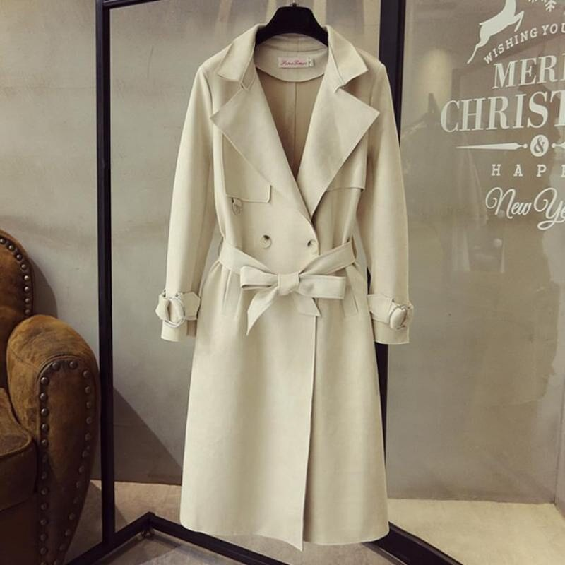 Turn Down Collar Sash Suede Long Trench Coat