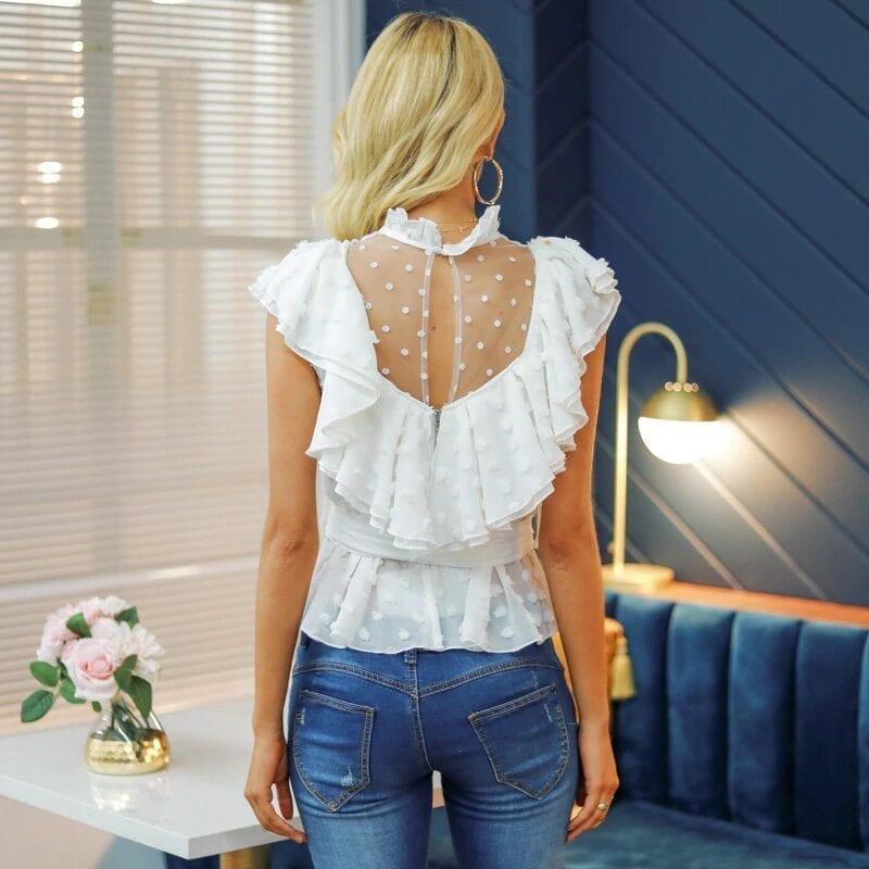 White Lace Flower Mesh Ruffled Chiffon Sleeve Blouse Shirt