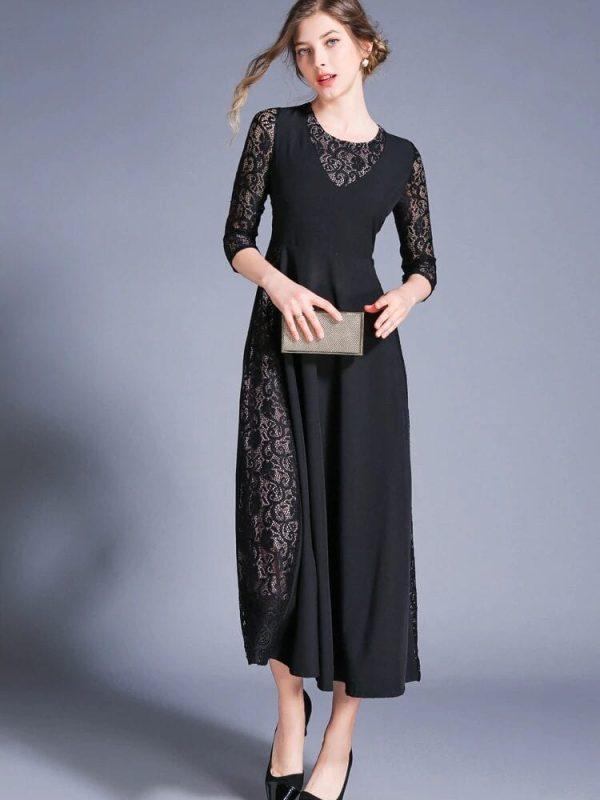 Retro Swing Hollow Out Lace A-line Black Dress