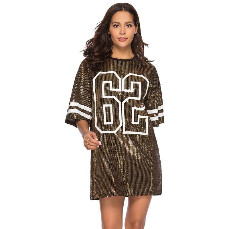 Sequins Print Loose Short Sleeve Dress