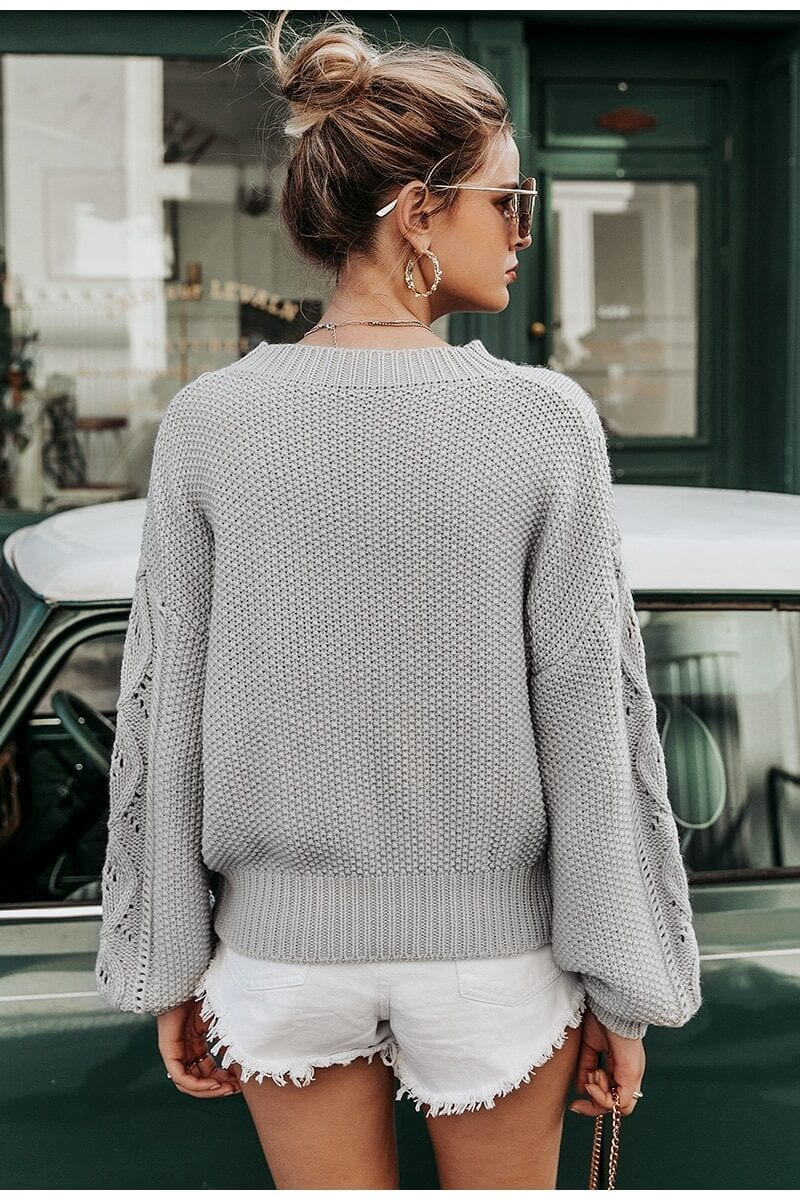Gray Hollow Out Knitted Lantern Sleeve Sweater