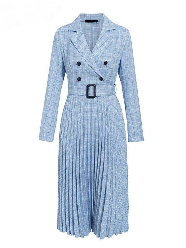 Elegant Long Sleeve Office Pleated Dress