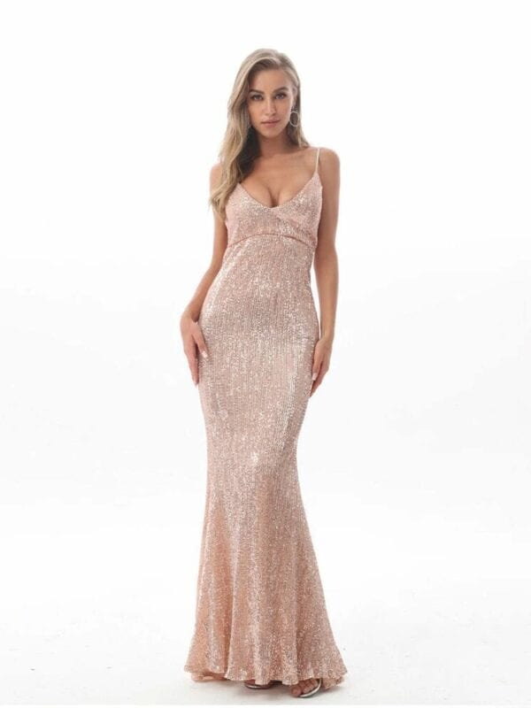 Sequin Hollow Out Padded V Neck Backless Floor Length Mermaid Dress