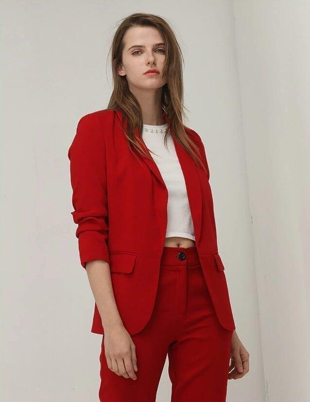 Elegant Red Puff Three Quarter Sleeve Blazer