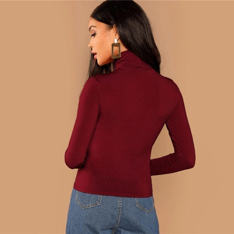 Burgundy Solid High Neck Long Sleeve T-shirt Blouse